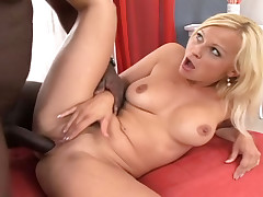 Hot blonde gets her wet pussy stuffed by a huge black dick!