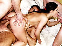 Hot tight bodied slut hets fucked in every hole by 4 dudes!