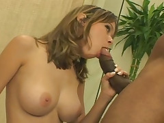Nice Looking Brunette Enjoys Fucking A Big Black Hard Cock