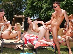 Three hot babes engage in kinky swinging neighborly love !