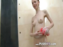 polish super skinny girl in the shower