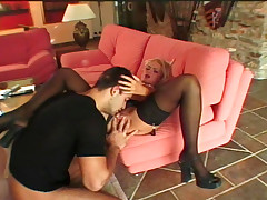 Sexy gal who enjoys to get fuck by a big cock on a couch