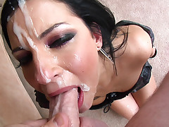 She deepthroats this giant dick & gets a messy facial reward