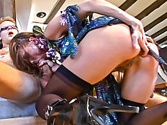 Sexy slut drips wax on Rocco, then gets fucked in the ass!