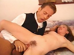 Rocco fucks those quirky hairy girls on a bed in a threesome