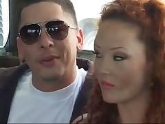 Hot Redhead Fucks Two Guys In Moving Van