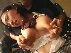 Busty girl lactating