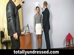 Secretary gets totally undressed during job interview