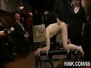 Busty waitress punished and fucked in bondage