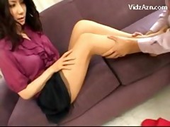Girl In Skirt And Pantyhose Getting Her Legs Pussy Rubbed On The Couch