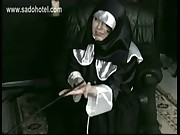 Crying slave nun spanked on her hands and on her butt by horny priest