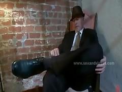 Busty horny bar client rough slave fuck