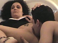 He fucks his curly-haired amateur lady