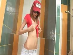 Amazingly skinny proana teen on toilet