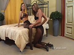 Caroline and Kristy in Pantyhose - Part 1