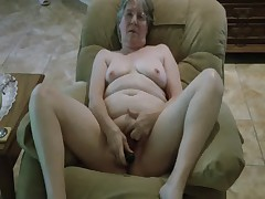Granny's new black dildo.
