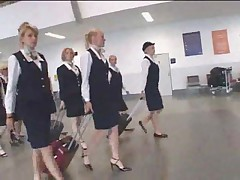 Busty stewardess public handjob in the bus