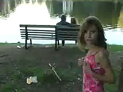 Russian cutie flashes in a park (risky)