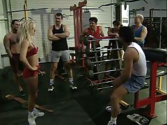 Sassy Blonde gang banged in the gym
