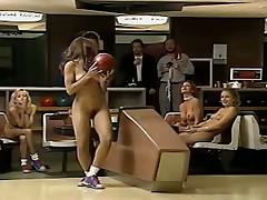 Nice girls paying bowling