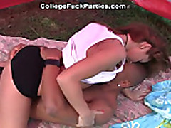 No Sound: Sexy college babes in orgy fucking