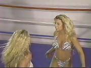 busty blonde bikini clad bitches wrestling
