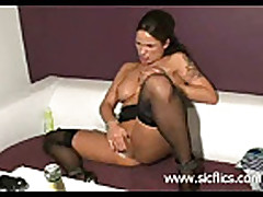 Hot brunette minx fist fucking her asshole till she orgasms
