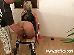 Hot blond milf violently fisted in her loose vagina
