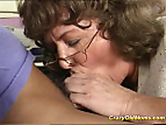 Crazy old mom gets deep pussy fuck and does oral job