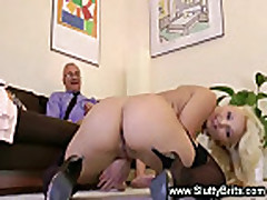 Blonde babe fucked by old guy and really loves it
