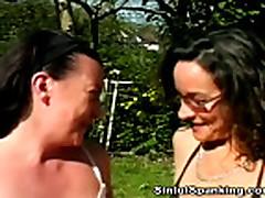 No Sound: Mature Lesbian Babes Spanking