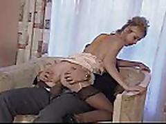 Blonde hottie with older guy