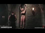 Bound busty blonde babe punished by spanking