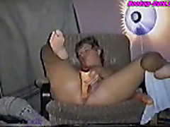 Dildo in amateur pussy on webcam