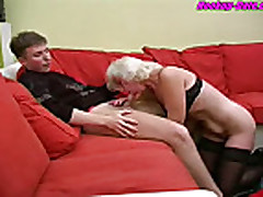 Russian granny sucks and fucks young man