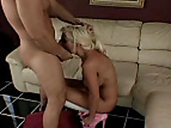 Milf in high heels gets deepthroated and fucked
