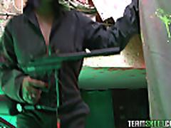 Voluptuous Sandra Flores fucked after a paintball gun shooti...