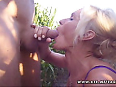 Busty amateur girlfriend outdoor blowjob and fuck with cumsh...