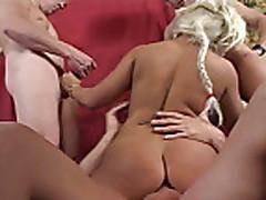 Slut blonde takes three dicks