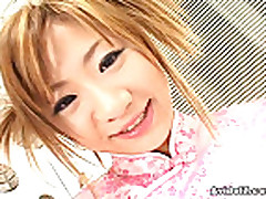Japanese redhead teen eating warm cum
