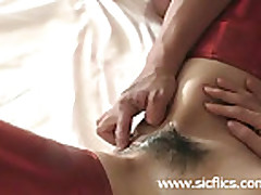 Giant strapon dildo fucked submissive slave