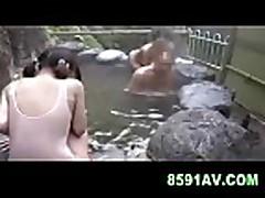 Mosaic; cute teen gives man blowjob in public bathhous