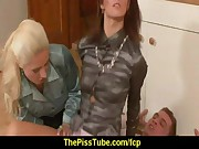 Wet and messy fully clothed pissing threesome