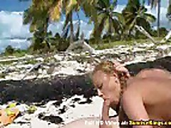 Sexy blonde sex on the beach